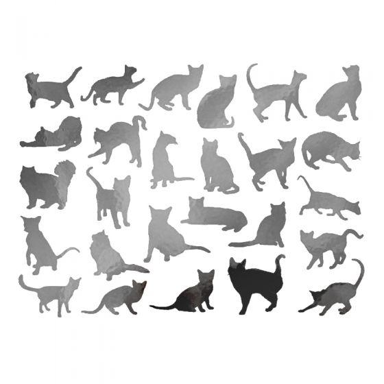 Metallic Cat Silhouettes Decal 13cm x 10cm