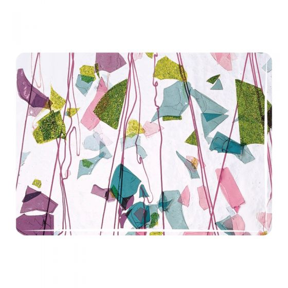 Bullseye Collage Glass: Fracture-Streamer Pink, Green, Aqua 4128