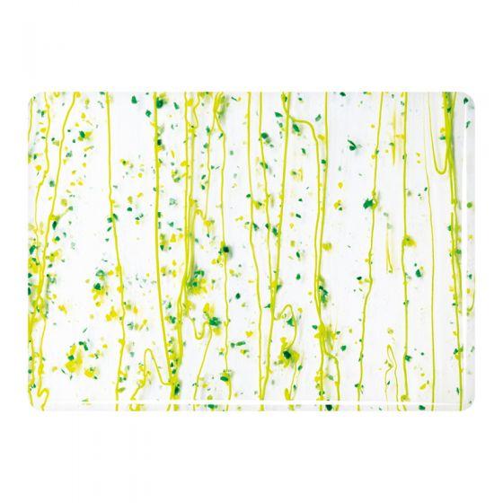 Bullseye Collage Glass: Mardi Gras Dk & Spring Green,Yellow 4212