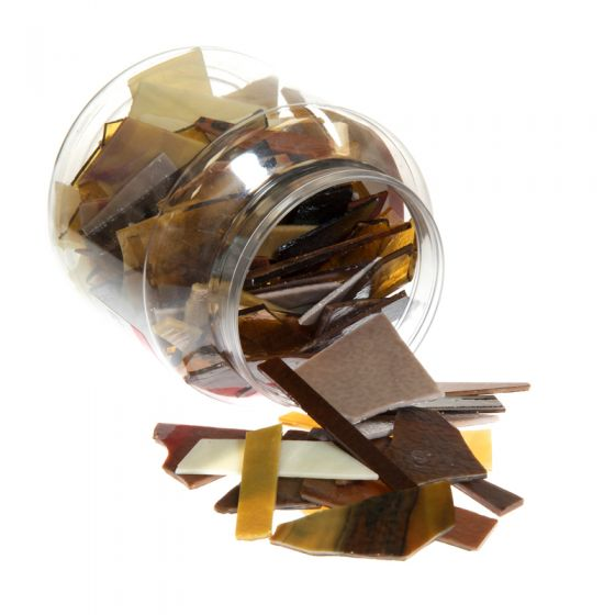 Bullseye Glass: Brown Variety Offcuts 1.5kg