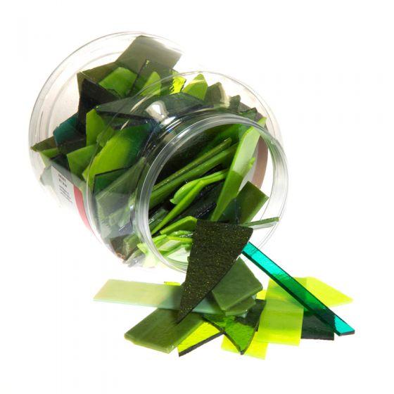 Bullseye Glass: Green Variety Offcuts 1.5kg