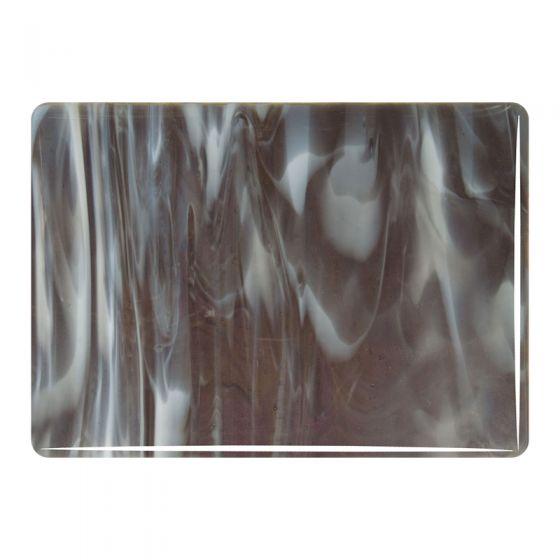 Bullseye Sheet Glass: 3mm Charcoal Grey, White Streaky 2129