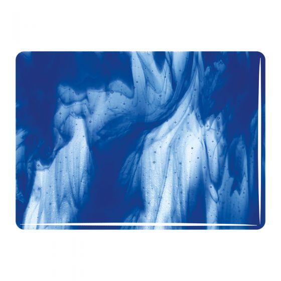 Bullseye Sheet Glass: 3mm Clear,  Deep Cobalt Blue Streaky 2047