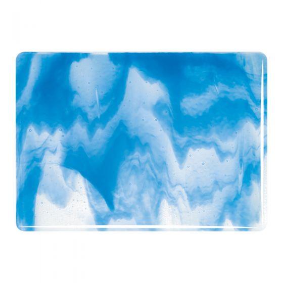 Bullseye Sheet Glass: 3mm Clear, Egyptian Blue Opal Streaky 2064