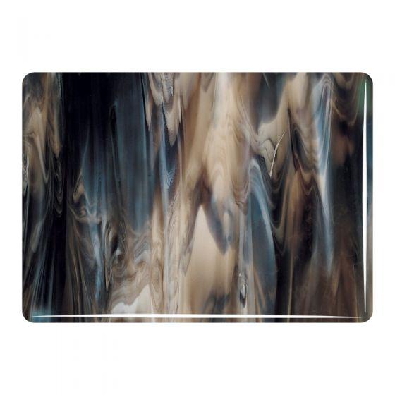 Bullseye Sheet Glass: 3mm Dark Brown and White Streaky 2209