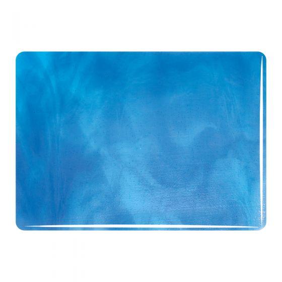 Bullseye Sheet Glass: 3mm Light Turquoise,True Blue Streaky 2416
