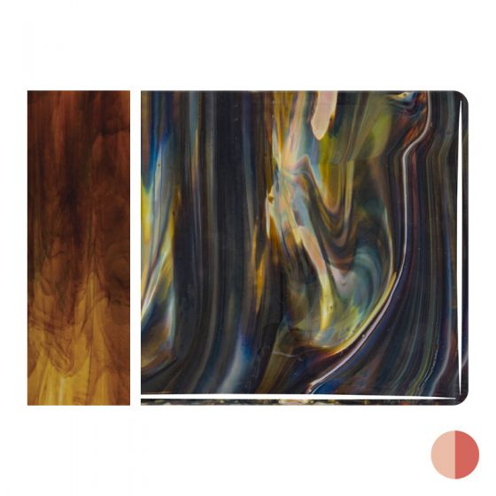 Bullseye Sheet Glass: 3mm Petrified Wood Streaky 2971