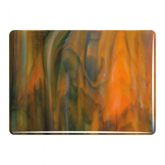 Bullseye Sheet Glass: 3mm White,Orange,Forest Green Streaky 3123
