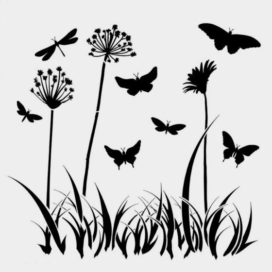 Butterfly Meadow Stencil 15cm x 15cm