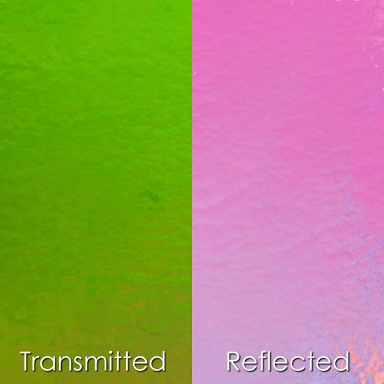 CBS Dichroic Glass: Green/Pink on thin clear