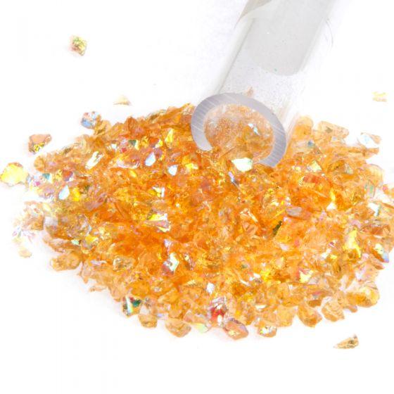 Dichroic Flakes on Amber (Medium)