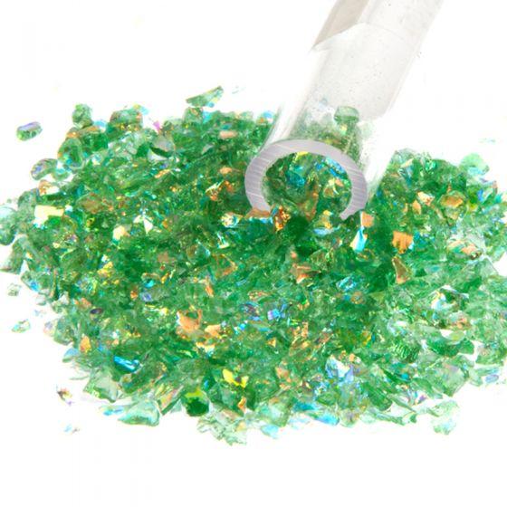 Dichroic Flakes on Green (Medium)