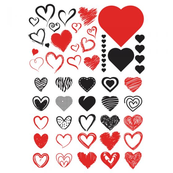 Hearts Decal 10 x 14.5cm (Lead Free)