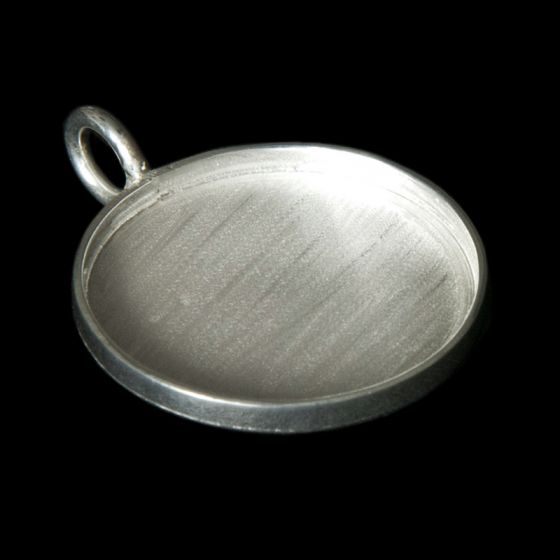 Silver Plated Circle Pendant Blank (35mm)